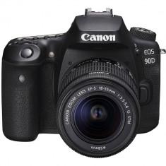 Aparat foto DSLR Canon EOS 90D 32.5MP 4K Black + Obiectiv 18-55mm IS STM