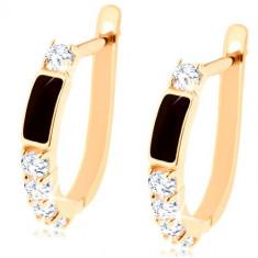 Cercei din aur 585 - dreptunghi negru si diamante rotunde