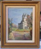 Tablou Biserica Nicorita Iași pictura in ulei 1994 inramat 54x44cm, Peisaje, Realism