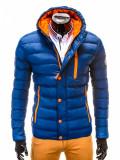 Geaca pentru barbati, bleumarin, ideal ski, de iarna cu gluga, fermoar si nasturi, model slim - c124, XXL