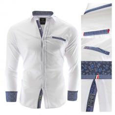 Camasa pentru barbati alb Slim fit casual cu guler Prato