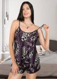 Cumpara ieftin Pijama dama ieftina primavara-vara mov din satin lucios cu imprimeu animal print