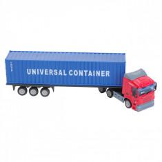 Camion de jucarie in miniatura, 26x6x9 cm, scara 1:64, albastru