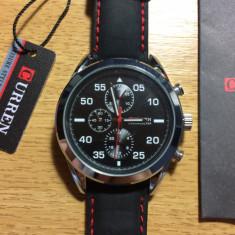 Ceas de mana barbatesc CURREN Chronometer, cadran 44 mm, Argintiu