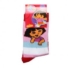 Sosete copii Dora roz cu dungi colorate