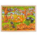 Puzzle Pui de animale salbatice Goki, 40 x 30 cm, 48 piese, lemn, 3 ani+