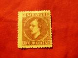 Timbru Sarawak 1875 colonie britanica ,Sir Ch.J.Brooke, val.4C brun fara guma, Nestampilat