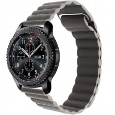 Curea piele Smartwatch Samsung Gear S3, iUni 22 mm Dark Gray Leather Loop