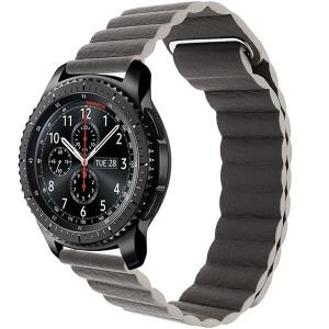 Curea piele Smartwatch Samsung Gear S3, iUni 22 mm Dark Gray Leather Loop