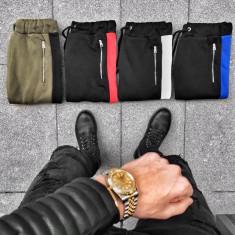 Pantaloni pentru barbati negru cu albastru conici cu siret verder bumbac BB warm up