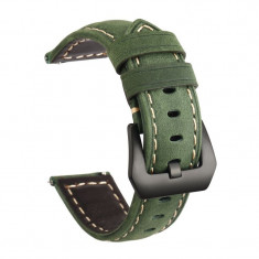 Curea piele naturala, compatibila Moto 360 46mm Generatia 2, telescoape Quick Release, 22mm, Forest Green