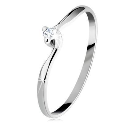 Inel de logodnă din aur alb 14K - zirconiu transparent, brațe înguste curbate - Marime inel: 56 foto