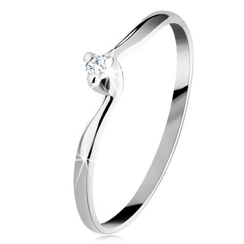 Inel de logodnă din aur alb 14K - zirconiu transparent, brațe înguste curbate - Marime inel: 56