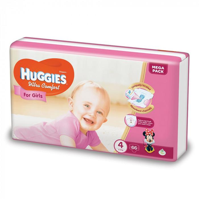 Scutece Huggies Ultra Confort Mega, Numarul 4, pentru fete, 66 bucati, 8-14 Kg EVO