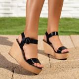 Sandale dama cu platforma negre Gialis