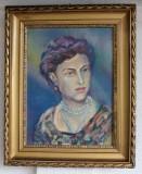 """Tablou semnat """"Octav B.""""- pictură portret de femeie / horă maramureşeană, Portrete, Ulei, Impresionism"""