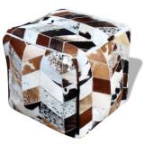Taburet din piele naturală, pătrat, multicolor, 45 x 45 x 45 cm