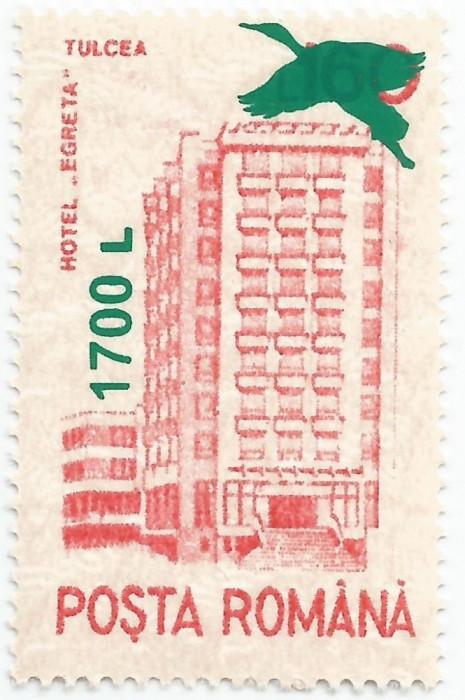 """*România, LP 1520/2000, Hoteluri şi cabane 1991 - supratipar """"egretă"""", MNH"""