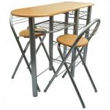 VidaXL Set masă și scaune / bucătărie / bar mic dejun, lemn