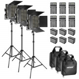 Cumpara ieftin Panouri 3x LED 660 cu doua culori,6 baterii 6600mAh Li-ion + incarcatoare + filtre, Neewer