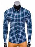 Camasa pentru barbati, bleumarin-verde, in carouri, slim fit, elastica, casual, cu guler - k387