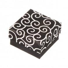 Cutiuță pentru cercei - neagră cu model răsucit