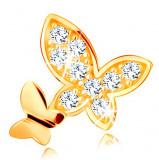 Cumpara ieftin Pandantiv din aur galben de 14K - doi fluturi - unul neted şi unul încrustat cu zirconii