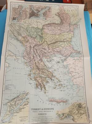 Harta a Balcanilor, cu reprezentare a Romaniei, tiparita in anul 1904 foto