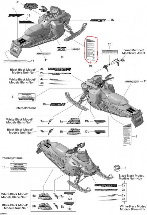 Abtibild avertizare/securitate Ski Doo nr.10 Cod Produs: MX_NEW 516003790SK