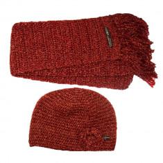 Set caciula si fular tricotate, cu sclipici, Visiniu, pentru femei