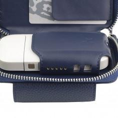 Husa din piele sintetica albastra pentru IQOS | German Couture