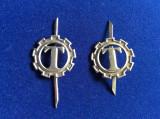 Insigne militare - Semne de armă - Construcții - roată mică (culoare argintie)