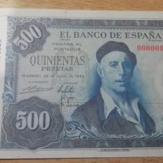 MDBS - BANCNOTA SPANIA - 500 PESETAS -1954