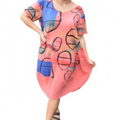 Rochie Agnette, din bumbac, model cu cercuri, nuanta corai