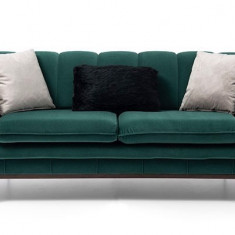 Canapea fixa tapitat cu stofa, 2 locuri Rosalina Verde, l188xA97xH78 cm