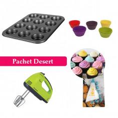 Pachet Desert! Tavă pentru Brioșe + Set 12 forme pentru brioșe din silicon + Mixer de mână + CADOU Poche pentru ornat