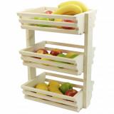 Suport din lemn pentru legume si fructe pe 3 nivele
