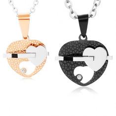 Set coliere din oțel, inimi în două culori cu decupaje, zirconiu transparent