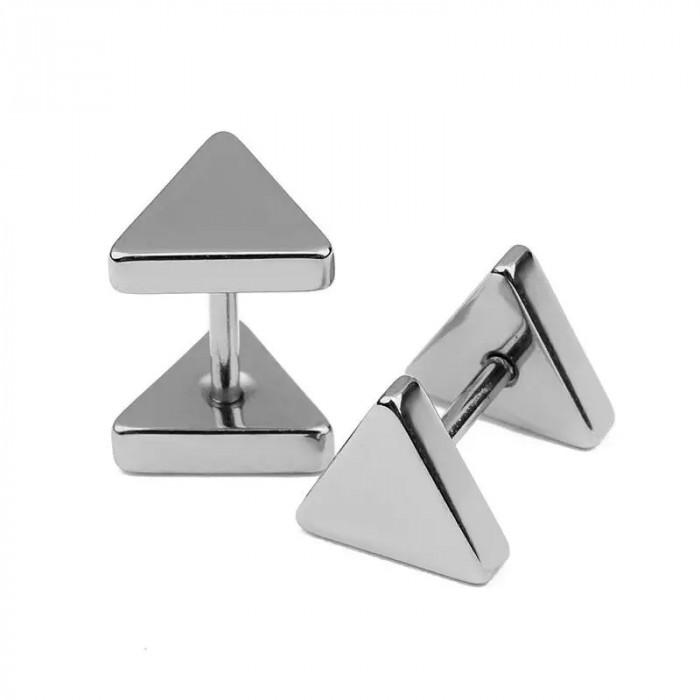 Cercei baieti triunghi barbell cercei barbati cercei fete pereche silver