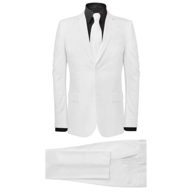 Costum bărbătesc 2 piese cu cravată mărimea 48, Alb