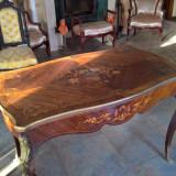 Masa veche bronz si intarsii