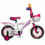 Bicicleta Copii Rich Baby T1203C, roti 12inch, frana C-Brake, roti ajutatoare, 2-4 ani, (Alb/Roz)