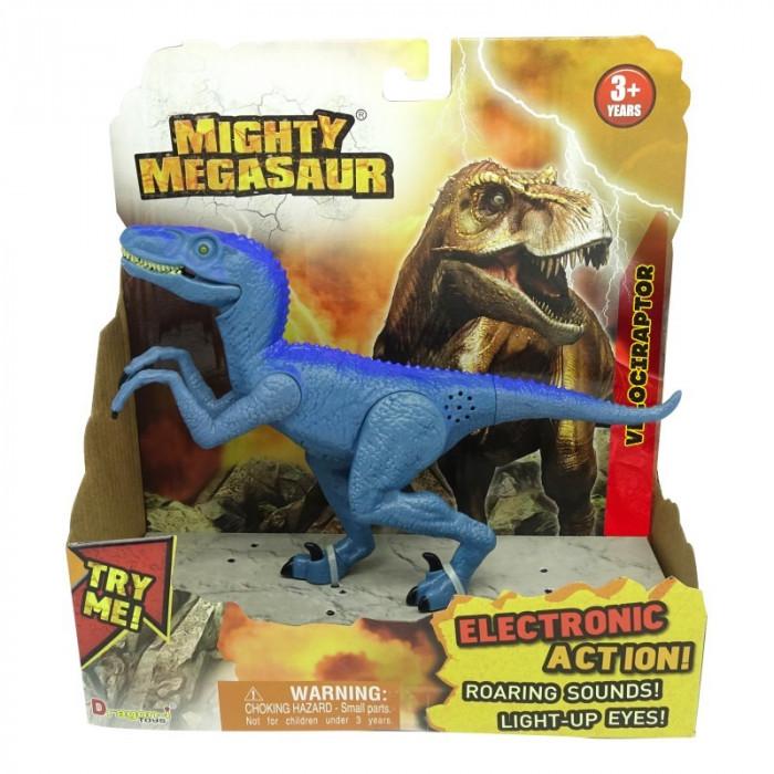 Dinozaur cu sunete si lumini Velociraptor, 21 x 20 cm, Albastru