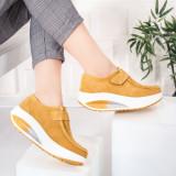 Pantofi dama Piele casual galbeni Visva