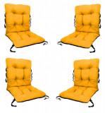 Set 4 Perne sezut/spatar pentru scaun de gradina sau balansoar, 50x50x55 cm, culoare galben, Palmonix