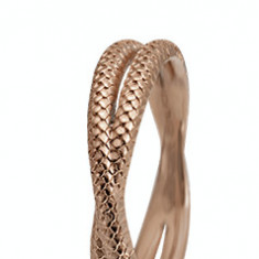 Inel Twin Snake, Argint 925 placat cu aur rose de 18 K, Masura 57