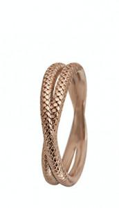 Inel Twin Snake, Argint 925 placat cu aur rose de 18 K, Masura 49