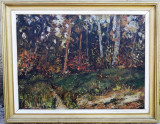 Tablou semnat Dumitru Bezem Peisaj de padure pictura ulei 63x80cm