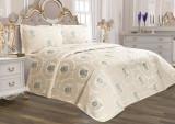 Cuvertură de pat Valentini Bianco din brocard, model Rosa Mint
