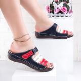 Papuci dama cu talpa ortopedica bleomarin cu rosu Jindelia